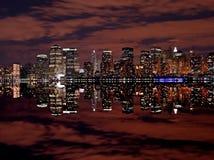 Manhattan skylines at night Royalty Free Stock Image