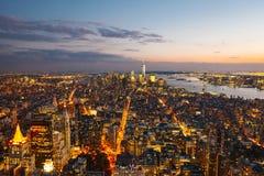Manhattan skylines at sunset Royalty Free Stock Photo