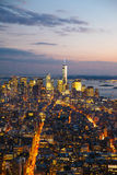 Manhattan skylines at sunset. Manhattan downtown skylines at sunset Stock Photo