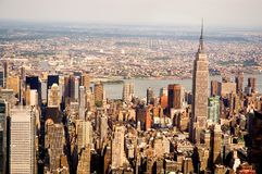 Manhattan skyscrapers. A nice aerial view of the Manhattan skyline and the Empire State Building in New York City Stock Images