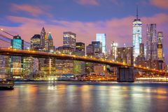 Manhattan skyscrapers and Brooklyn Bridge, New York, USA Stock Photos