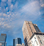 Manhattan skyscrapers with city trees, New York Royalty Free Stock Photos