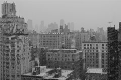 Manhattan. Snowfall. Stock Photos