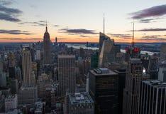 Manhattan solnedgång arkivfoto