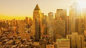 Manhattan soluppgångmorgon Arkivbilder