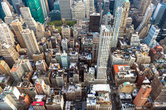 Manhattan-Stadtbild mit Wolkenkratzern, New York City (Vogelperspektive Stockfotos