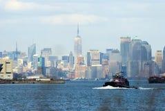 Manhattan with statue of liberty Stock Photos