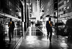 Manhattan street by night Royalty Free Stock Photos