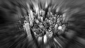 Manhattan streets. View of nyc streets from Empire State in black and white Royalty Free Stock Photography
