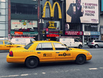 Manhattan Streets with a typical yellow cab Royalty Free Stock Photography