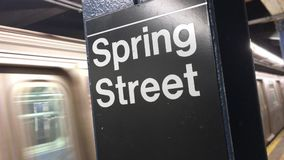 Subway Train Leaves the Spring Street Station. A Manhattan subway car leaves the Spring Street station. With audio stock footage