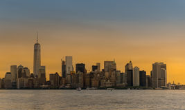 Manhattan in sun set Stock Images
