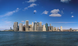 Manhattan on a sunny day. Panorama of the Manhattan Island at sunny day Royalty Free Stock Photography