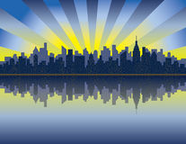Manhattan Sunrise. An illustration of sunrise over Manhattan looking east from the Hudson River Royalty Free Stock Photo