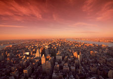 Manhattan Sunrise In New York. Sunrise over Manhattan shot in extreme wide angle showing the Hudson River and the shape of Manhattan Stock Photos