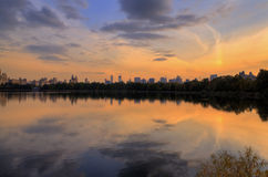 Manhattan Sunset. Autumn scene at sunset on the lake in Central Park, New York City Stock Images