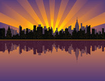 Manhattan Sunset. An illustration of sunset over Manhattan looking west from the East River Stock Image