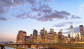 Manhattan at sunset from Brooklyn Bridge Royalty Free Stock Photos