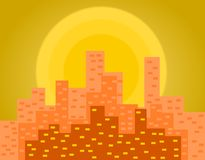 Manhattan Sunset Illustration. An illustration is demonstrated in this project displaying city during sunset/sunrise vector illustration