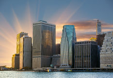 Manhattan. Sunset in New York City. royalty free stock photo