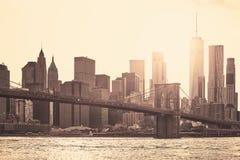 Manhattan at sunset, New York City, USA. Manhattan at sunset, sepia toning applied, New York City, USA Royalty Free Stock Photography