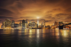 Manhattan at sunset. New York City. View from Brooklyn Stock Photography