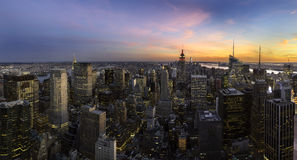 Manhattan sunset panorama, New york city Royalty Free Stock Image