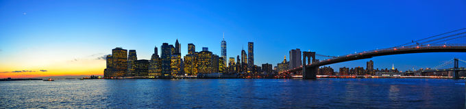Manhattan Sunset Panorama, New York City Royalty Free Stock Image