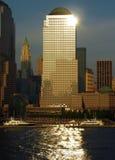 Manhattan Sunset Reflections Stock Photo