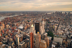 Manhattan sunset skyline aerial view Royalty Free Stock Images