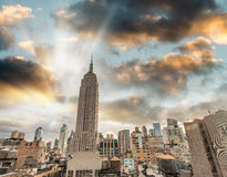 Manhattan sunset skyline in autumn, New York City Stock Image