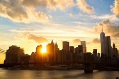 Manhattan at sunset Stock Images