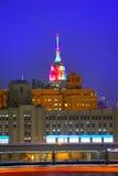 Manhattan sunset skyline New York Empire State Stock Image