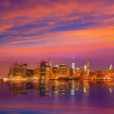 Manhattan sunset skyline New York NYC US Stock Image