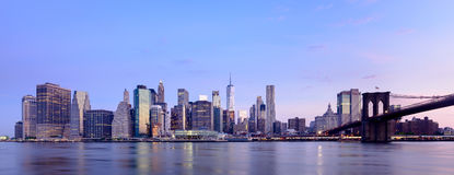 Manhattan on sunset. A view across the east river from Brooklyn towards Manhattan in New York City at sunset stock photo