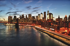 Manhattan at sunset. Royalty Free Stock Photography