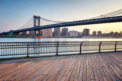 Manhattan Suspension Bridge Across East River Royalty Free Stock Photography