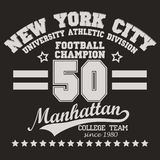 Manhattan t-shirt graphics. New York Manhattan football Sport wear typography emblem, t-shirt stamp graphics, vintage tee print, apparel design Royalty Free Stock Photography
