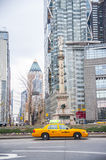 Manhattan taxi in columbus circle Royalty Free Stock Photos