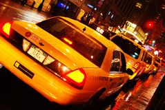 Manhattan taxis in the rain Royalty Free Stock Photo