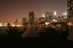 Manhattan tents and skyscrapers Royalty Free Stock Image