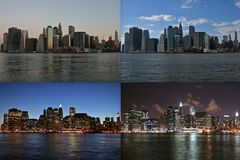 Manhattan Time Lapse. (Sunrise to nightime Royalty Free Stock Photo