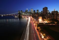 Manhattan at twilight. Manhattan and FDR Drive at twilight Royalty Free Stock Photography