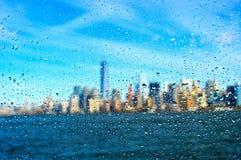 Manhattan under drops. Financial district in manhattan under drops stock photos