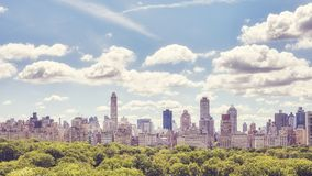 Manhattan Upper East Side skyline over Central Park, NYC. Manhattan Upper East Side skyline over Central Park, color toned picture, New York City, USA royalty free stock images