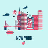 Manhattan USA skyline silhouette cartoon design vector illustration. Stock Photo