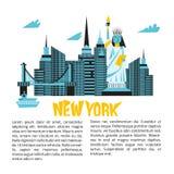 Manhattan USA skyline silhouette cartoon design vector illustration. Royalty Free Stock Images