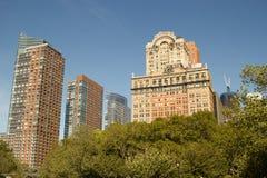 Manhattan van de binnenstad, NY gebouwen Stock Foto's