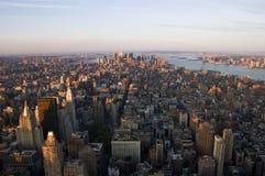Manhattan van de binnenstad van de Lucht Stock Afbeelding