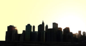 Manhattan View. Dotted view on Downtown Manhattan Skyscrapers from Brooklyn Bridge vector illustration